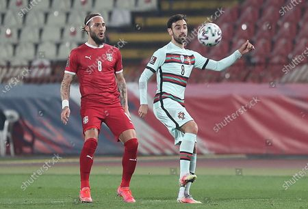 Serbia's Nemanja Gudelj (8) vs Portugal's Fernandes (8)