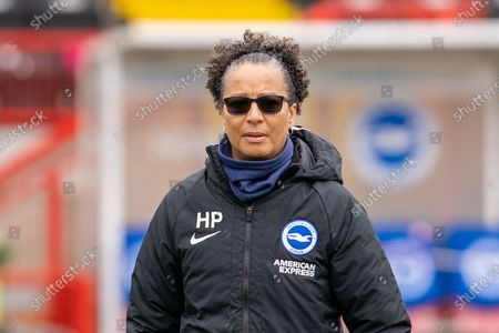 Brighton and Hove Albion Manager Hope Powell  in the warm up ahead of the FA Women's Super League match between Brighton and Hove Albion Women and Everton Women at The People's Pension Stadium, Crawley