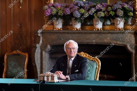 King Carl Gustaf during the Council of State., On Sunday 28 March, a Council of State was held at the Royal Palace on the occasion of the birth of TRH Prince Carl Philip and Princess Sofia's third child., At the Council of State, HM The King informed the Government that the Prince/Princess, who is seventh in line to the Throne, will be named Julian Herbert Folke and known as Prince Julian., Prince Julian has been granted the Duchy of Halland., In accordance with His Majesty The King's decision of 7 October 2019 regarding changes in The Royal House, Prince Julian is a member of the Royal Family but not of The Royal House. The Prince will therefore not enjoy the style of Royal Highness.