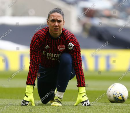 Manuela Zinsberger of Arsenal during the pre-match warm-up  during  FA Women's Spur League betweenTottenham Hotspur and Arsenal Women  at Tottenham Hotspur Stadium , London , UK on 27th March 2021