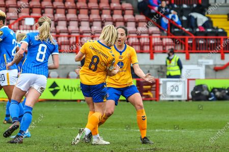 Izzy Christiansen (Everton 8) celebrates goal during the Barclays FA Womens Super League game between Brighton & Hove Albion and Everton at The People's Pension Stadium in Crawley.