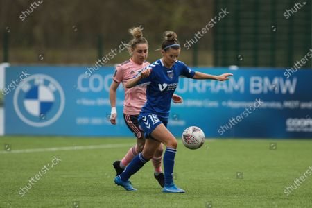 Danielle Brown (#19 Durham) in action during the FA Women's Championship game between Durham and Sheffield United at Maiden Castle