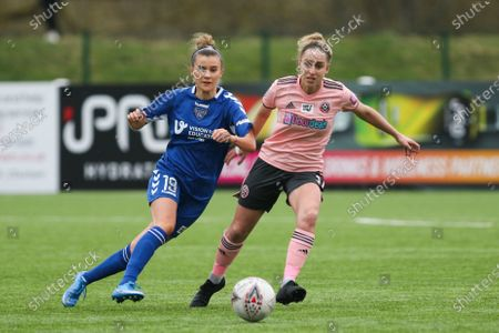 Stock Picture of Danielle Brown (#19 Durham) passes the ball during the FA Women's Championship game between Durham and Sheffield United at Maiden Castle