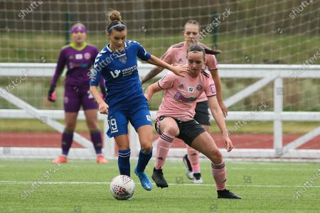 Danielle Brown (#19 Durham) and Nat Johnson (#3 Sheffield United) in action during the FA Women's Championship game between Durham and Sheffield United at Maiden Castle in Durham, England