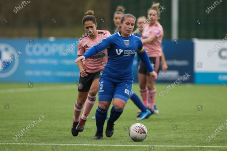 Stock Photo of Sarah Wilson (#5 Durham) in action during the FA Women's Championship game between Durham and Sheffield United at Maiden Castle in Durham, England