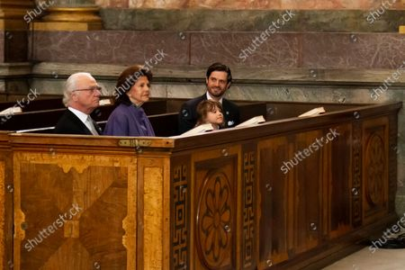 King Carl Gustaf, Queen Silvia, Prince Alexander and Prince Carl Philip during Te Deum ceremony for Prince Julian, new born son of Prince Carl Philip and Princess Sofia held at the Church at the Royal Palace in Stockholm, Sweden March 28, 2021.