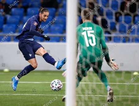 France's Adrien Rabiot makes an attempt to score during the World Cup 2022 group D qualifying soccer match between Kazakhstan and France at the Astana Arena stadium in Nur-Sultan, Kazakhstan