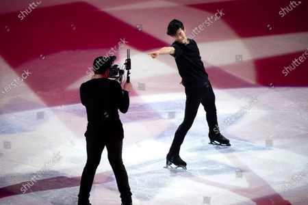 Nathan Chen (R) of the USA performs during the Gala Exhibition at the ISU World Figure Skating Championships in Stockholm, Sweden, 28 March 2021. Chen won the gold medal in the men's competition.