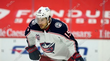 Columbus Blue Jackets defenseman Michael Del Zotto plays during the first period of an NHL hockey game, in Detroit