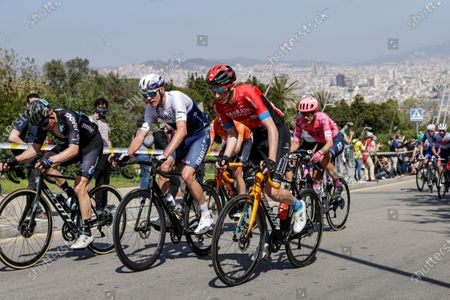 181 Chris Froome from Great Britain of Israel Start Up Nation and 127 Stephen Williams from Great Britain of Bahrain Victorious during the 100th Volta Ciclista a Catalunya 2021, Stage 7 from Barcelona to Barcelona. On March 28, 2021 in Barcelona, Spain.