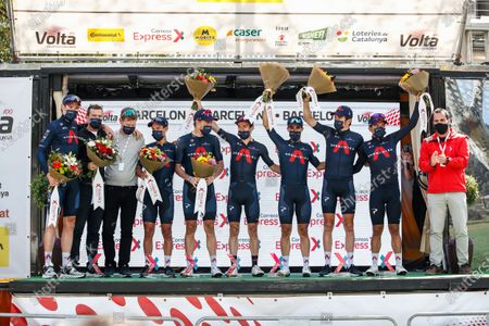 Ineos Grenadiers team at the podium celebrating their team victory with Richard Carapaz, Jonathan Castroviejo, Rohan Dennis, Richie Porte, Luke Rowe, Geraint Thomas and Adam Yates during the 100th Volta Ciclista a Catalunya 2021, Stage 7 from Barcelona to Barcelona. On March 28, 2021 in Barcelona, Spain.