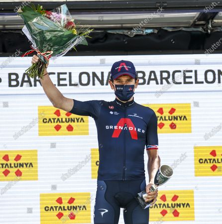 44 Geraint Thomas from Great Britain of Ineos Grenadiers at the podium celebrating his third place at the general during the 100th Volta Ciclista a Catalunya 2021, Stage 7 from Barcelona to Barcelona. On March 28, 2021 in Barcelona, Spain.