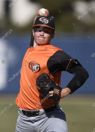 Pacific's Hunter Hayes pitches during an NCAA baseball game against San Diego on in San Diego