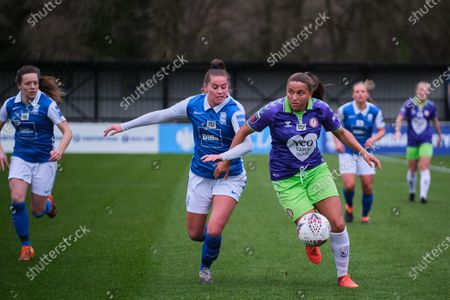 Abi Harrison (#21 Bristol City) and Georgia Brougham (#16 Birmingham City) battle for the ball during the FA Women's Super League match between Birmingham City and Bristol City at SportNation.bet Stadium