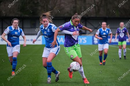 Stock Image of Abi Harrison (#21 Bristol City) and Georgia Brougham (#16 Birmingham City) battle for the ball during the FA Women's Super League match between Birmingham City and Bristol City at SportNation.bet Stadium