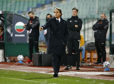 Italy head coach Roberto Mancini gestures during the World Cup 2022 Group C qualifying soccer match between Bulgaria and Italy at Vassil Levski stadium, in Sofia