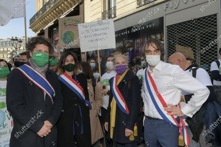 Julien Bayou, Delphine Batho deputee and Cedric Villani. At the call of the 150 citizens of the Citizens Convention for the Climate and more than 400 organizations for a march for a real climate law
