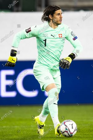 Switzerland's goalkeeper Yann Sommer in action during the FIFA World Cup Qatar 2022 qualifying group C soccer match between Switzerland and Lithuania at the Kybunpark stadium in St. Gallen, Switzerland, 28 March 2021.