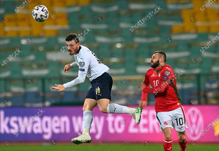 Stock Photo of Italy's Alessandro Florenzi (L) in action with Bulgaria's Spas Delev (R)  during the FIFA World Cup 2022 qualifying soccer match between Bulgaria and Italy in Sofia, Bulgaria, 28 March 2021.