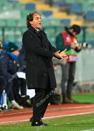 Italian head coach Roberto Mancini reacts  during the FIFA World Cup 2022 qualifying soccer match between Bulgaria and Italy in Sofia, Bulgaria, 28 March 2021.
