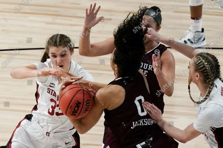 Stanford's Hannah Jump and Missouri State's Abi Jackson go after a loose ball during the first half of an NCAA college basketball game in the Sweet 16 round of the Women's NCAA tournament, at the Alamodome in San Antonio