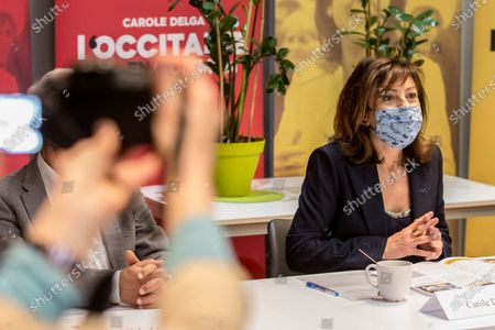 Carole Delga, president of the Occitanie Region during a press conference on the theme of health in anticipation of the next regional elections scheduled for June 13 and 20, 2021.