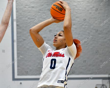 Ole' Miss forward, Shakira Austin (0), shoots a jump shot during the Women's NIT basketball championship game between the Ole' Miss Rebels and the Rice Owls in Memphis, TN. (Photo by: Kevin Langley/CSM)