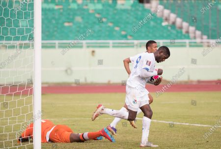 Panama's player Jose Fajardo (R) celebrates after scoring against Dominica, during a match for the Concacaf Qualifying for the Qatar 2022 World Cup, at the Felix Sanchez Stadium in Santo Domingo, Dominican Republic, 28 March 2021.