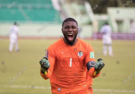 Dominica's goalkeeper Glenson Prince celebrates a goal of his team against Panama during a match for the Concacaf Qualifying for the Qatar 2022 World Cup, at the Felix Sanchez Stadium in Santo Domingo, Dominican Republic, 28 March 2021.