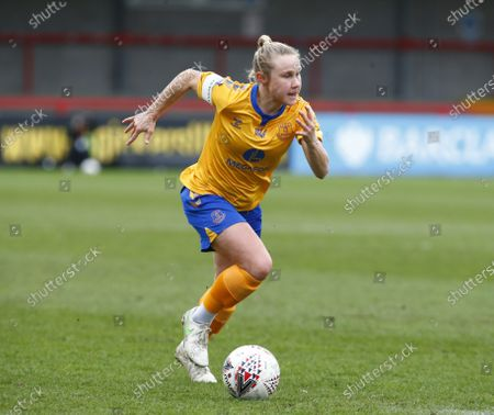 Izzy Christiansen of Everton Ladies  during Barclays FA Women Super League match between Brighton and Hove Albion Women and Everton Women at The People's Pension Stadium on March  28 , 2021 in Crawley, England