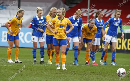 Izzy Christiansen of Everton Ladies await to take penalty  during Barclays FA Women Super League match between Brighton and Hove Albion Women and Everton Women at The People's Pension Stadium on March  28 , 2021 in Crawley, England