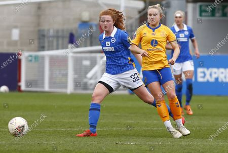 L-R Libby Bance of Brighton and Hove Albion WFC and Izzy Christiansen of Everton Ladies during Barclays FA Women Super League match between Brighton and Hove Albion Women and Everton Women at The People's Pension Stadium on March  28 , 2021 in Crawley, England