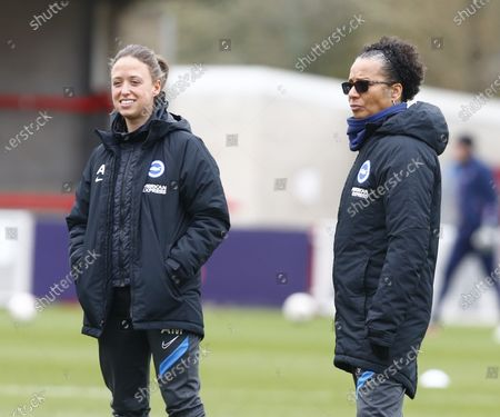 Hope Powell manager of Brighton and Hove Albion WFC (Right) during Barclays FA Women Super League match between Brighton and Hove Albion Women and Everton Women at The People's Pension Stadium on March  28 , 2021 in Crawley, England