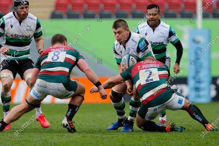 Jamie Blamire of Newcastle Falcons is tackled by Tom Youngs during the Gallagher Premiership match between Leicester Tigers and Newcastle Falcons at Welford Road, Leicester, Engalnd on 28th March 2021.