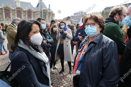 At the call of several environmental associations, nearly 1,500 people protested in Lille for the climate. On the eve of the beginning of the review of the draft climate law presented by the government A the national assembly - Karima Delli, MEP of the Greens with Martine Aubry, mayor of Lille