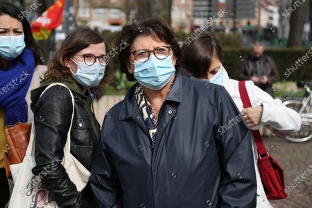 Stock Photo of At the call of several environmental associations, nearly 1,500 people protested in Lille for the climate. On the eve of the beginning of the review of the draft climate law presented by the government A the national assembly - Martine Aubry, Mayor of Lille