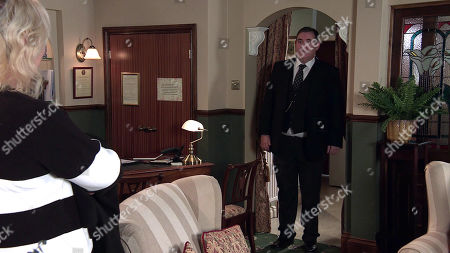 Coronation Street - Ep 10294 Wednesday 7th April 2021 - 2nd Ep When Eileen Grimshaw, as played by Sue Cleaver, calls at the undertakers, Todd Grimshw's intrigued to realise George Shuttleworth, as played by Tony Maudsley, fancies her.
