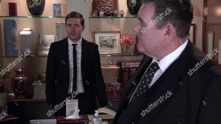 Coronation Street - Ep 10294 Wednesday 7th April 2021 - 2nd Ep When Eileen Grimshaw calls at the undertakers, Todd Grimshw's, as played by Gareth Pierce, intrigued to realise George Shuttleworth, as played by Tony Maudsley, fancies her.
