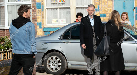 Coronation Street - Ep 10295 & Ep 10296 Friday 9th April 2021 Outside the factory, a miserable Nick Tilsley, as played by Ben Price, fills Sarah Barlow, as played by Tina O'Brien, and David Platt, as played by Jack P Shepherd, in on why Leanne Tilsley, as played by Jane Danson, has to move away and so forces him to choose between her and Sam Blakeman, as played by Jude Riordan.
