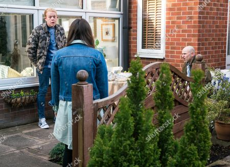 Stock Image of Coronation Street - Ep 10301 & Ep 10302 Friday 16th April 2021  Craig Tinker, as played by Colson Smith, calls at No.4 and breaks the news that Ray pleaded not guilty to attempted rape. Tim Metclafe, as played by Joe Duttine, and Faye Windass, as played by Elle Leach, are gutted, aware it could have a detrimental effect on her sentence.