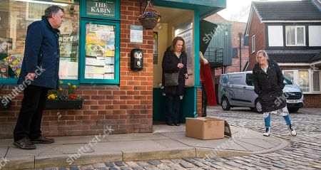 Coronation Street - Ep 10297 Monday 12th April 2021 - 1st Ep As Brian Packham, as played by Peter Gunn,, Cathy Matthews, as played by Melanie Hill, and Bernie Winter, as played by Jane Hazlegrove, head back from lunching at Speed Daal, Cathy gets a call from Dev telling her that it would be best if she stayed away from the kebab shop for a while until the customers forget what she's done. Cathy's further upset when she finds a parcel on the Kabin doorstep containing a funeral wreath.