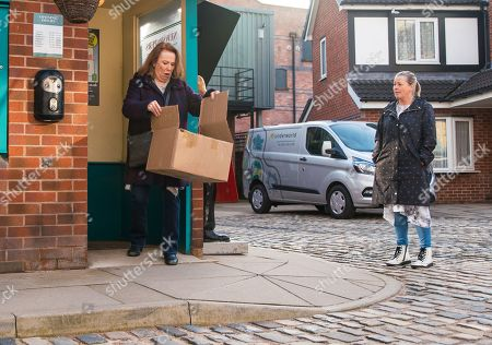 Coronation Street - Ep 10297 Monday 12th April 2021 - 1st Ep As Brian Packham, Cathy Matthews, as played by Melanie Hill, and Bernie Winter, as played by Jane Hazlegrove, head back from lunching at Speed Daal, Cathy gets a call from Dev telling her that it would be best if she stayed away from the kebab shop for a while until the customers forget what she's done. Cathy's further upset when she finds a parcel on the Kabin doorstep containing a funeral wreath.