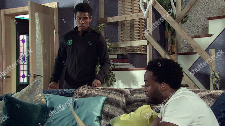Coronation Street - Ep 10297 Monday 12th April 2021 - 1st Ep Michael Bailey, as played by Ryan Russell, explains to James Bailey, as played by Nathan Graham, he went ahead with the DNA test and he's expecting the results. Michael stares anxiously at the envelope.