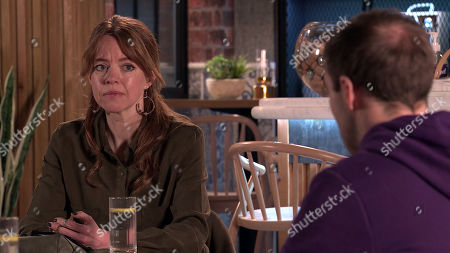 Coronation Street - Ep 10301 & Ep 10302 Friday 16th April 2021  Toyah Battersby, as played by Georgia Taylor, does her best to conduct Fiz Stape and Tyrone Dobbs', as played by Alan Halsall, counselling session.