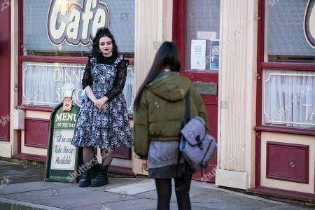 Coronation Street - Ep 10285 Monday 29th March 2021 - 1st Ep Realising she's no longer with Nina Lucas, as played by Mollie Gallagher, Corey suggests he and Asha Alahan, as played by Tanisha Gorey, meet up later and she tentatively agrees.