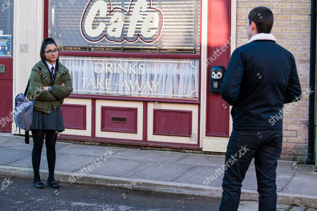 Coronation Street - Ep 10285 Monday 29th March 2021 - 1st Ep Realising she's no longer with Nina Lucas, Corey, as played by Maximus Evans, suggests he and Asha Alahan, as played by Tanisha Gorey, meet up later and she tentatively agrees.