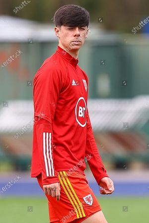 Wale's U18 Luke Mariette  (18) during the pre-match warm-up before the international friendly match between U18 Wales and U18 England at Leckwith Stadium, Cardiff