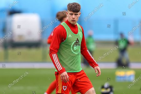 Wale's U18 Ryan Viggars (9) during the pre-match warm-up before the international friendly match between U18 Wales and U18 England at Leckwith Stadium, Cardiff