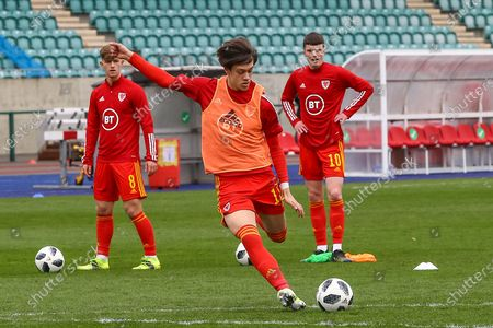Wale's U18 Chris Popov (11) during the pre-match warm-up before the international friendly match between U18 Wales and U18 England at Leckwith Stadium, Cardiff