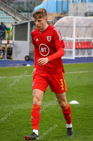 Wale's U18 Thomas Davies (3) during the pre-match warm-up before the international friendly match between U18 Wales and U18 England at Leckwith Stadium, Cardiff
